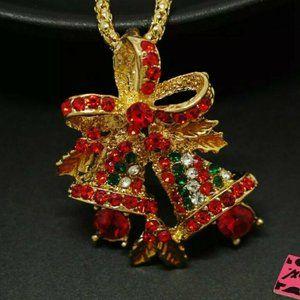 Betsey Johnson Christmas Bells Pendant Necklace